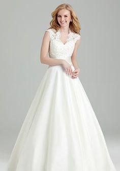 Retro Queen Anne Lace & Satin Floor Length A line Empire Waist Wedding Dress - 1300103608B - US$249.99 - BellasDress