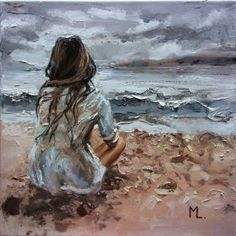 OIL ON CANVAS 60x50cm olny one, original painting - palette knife - with Certificate of Authenticity HALLO EVERYONE :) I HAVE SIMMILAR GIRL WITH SEA, JUST HAVE A LOOK : https://www.artfinder...