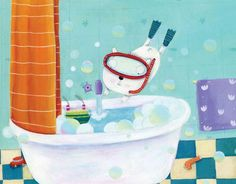 Francesca Assirelli Illustration - francesca, assirelli, francesca assirelli, acrylic, acrylic paint, paint, painted, commercial, trade, picturebook, picture book, animas, cats, bath, bath time