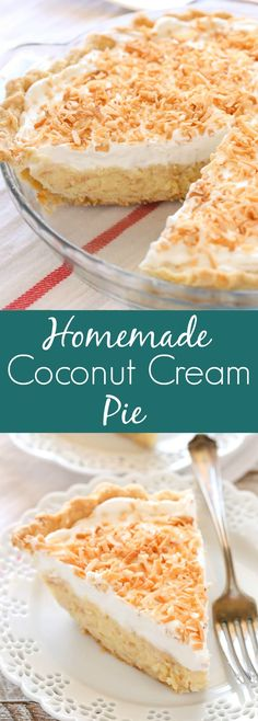 A homemade pie crust filled with a creamy coconut filling topped with whipped cream and toasted coconut. This homemade coconut cream pie recipe is so easy to make and delicious! Easy Coconut Cream Pie, Cocnut Cream Pie, Pie Coconut, Coconut Cream Dessert, Recipes With Coconut Cream, Coconut Cheesecake, Coconut Whipped Cream, Cream Pies, Cream Pie Recipes
