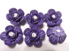 6 Fimo Polymer Clay Purple White Flower Rose Fimo Beads 25mm. $4.99, via Etsy.