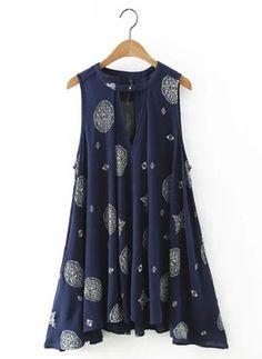 Porcelain Printing Triangle Cutout A-line Dress Navy Blue Short Dress, Short A Line Dress, Blue Summer Dresses, Short Dresses, Mini Dresses, Navy Dress, Robe Swing, Swing Dress, Boho Beach Style