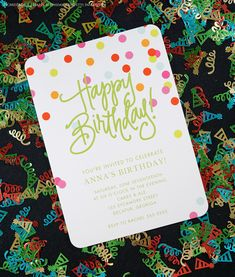 Confetti Invitation (Designed by Natalie Chang) designed by Picme! Adult Birthday Party, Happy Birthday, Birthday Party Invitations, Invites, Best Part Of Me, Invitation Design, Confetti, Rsvp, Party Ideas