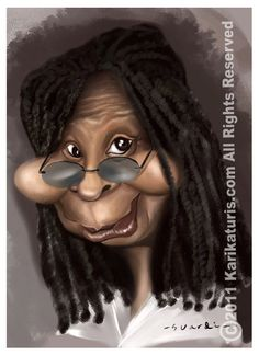 Another caricature, this one of Whoopi Goldberg. As you can see her cheeks, lips, and eyes are extremely exaggerated. But you can still clearly depict who the drawing is supposed to portray.  Link:http://karikaturis.files.wordpress.com/2011/07/whoopi.jpg