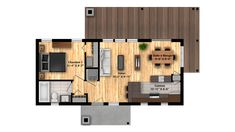 16X36B-plan-plancher Plane, Tiny House Plans, Floor Plans, Flooring, How To Plan, Minimum, Position, Aide, Tiny Houses