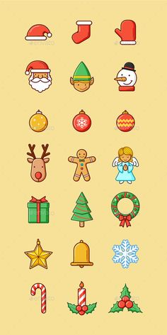 Buy Christmas Set by kuzzie on GraphicRiver. Set of Christmas theme icons. This set is a vector illustration and can be scaled to any size without loss of resolut. Christmas Doodles, Christmas Icons, Christmas Drawing, Modern Christmas, Christmas Design, Christmas Art, Christmas Themes, Xmas, Illustration Noel