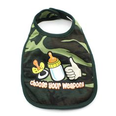 Choose Your Weapon Baby Bib Camo Baby Clothes, Camo Baby Stuff, Marine Corps Baby, Baby Gift Sets, Baby Bibs, Baby Bodysuit, Baby Shower Gifts, Weapons, All In One