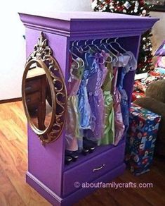 DIY: take out shelves and drawers of a dresser and turn it into a princess wardrobe