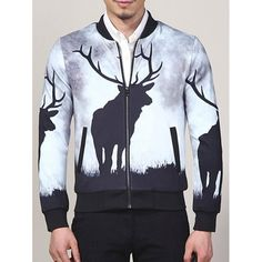 38.79$  Buy here - http://dii54.justgood.pw/go.php?t=198034806 - Stand Collar Elk Print Zip Up Jacket 38.79$