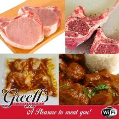Weekend specials at Greeff's Butchery: Pork loin chops - Chicken flatties - Lamb rib loin chops - Lamb curry and rice (cooked) - Lamb Ribs, Pork Loin Chops, Meat Markets, Lamb Curry, Steak, Rice, Beef, Chicken, Cooking