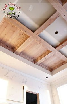 Coffered part white inside planed pine natural as shown