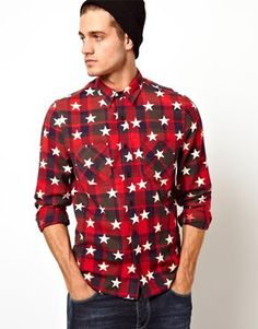 ASOS Check Shirt in Long Sleeve with Star Print