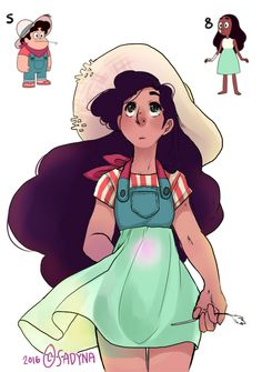 A costume design for Stevonnie from Steven Universe made by crossing outfits that Steven and Connie have already worn.