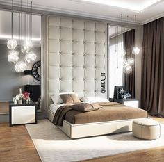 Inspiration de chambres à coucher Bedroom Lamps Design, Luxury Bedroom Design, Master Bedroom Design, Dream Bedroom, Home Decor Bedroom, Bedroom Furniture, Interior Design, Suites, Luxurious Bedrooms