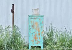 Turquoise Pie Safe Cabinet  Distressed Nightstand by KnickofTime