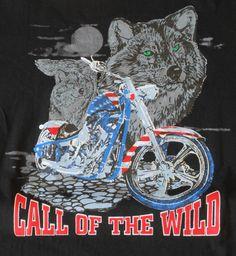 American Tee Shirt Seven Apparel Black Call Of The Wild Motorcycle Wolf T Shirt #AmericanTeeShirtSevenApparel #GraphicTee