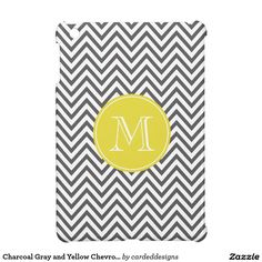 Charcoal Gray and Yellow Chevron Custom Monogram iPad Mini Cases
