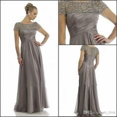 Cheap sleeve cocktail dress, Buy Quality sleeve tattoo directly from China dresses long sleeve Suppliers: New Arrival 2015 High Quality Elegant Beaded Grey Chiffon Sheer Ruched Short Sleeve Vestido De Madrinha Mother Of Bride Dress Mother Of Groom Dresses, Bride Groom Dress, Bride Gowns, Mothers Dresses, Mother Of The Bride, Bride Suit, Lace Gowns, Party Gowns, Wedding Party Dresses