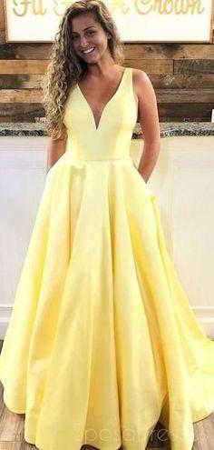 6944c65d5e Yellow Cheap V-Neck A-line Long Evening Prom Dresses
