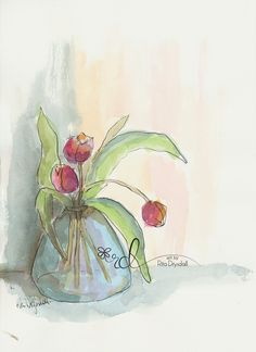 Tulips ink and wash watercolour