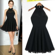 Sexy Black Halter Neck Casual Evening Dress | Daisy Dress for Less | Women's Dresses & Accessories