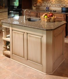 A Traditional Kitchen which Birch Kitchen -separate painted and glazed work island-- Mullet Cabinet Kitchen Counter Cabinet, Kitchen Cabinet Design, Kitchen Pantry, New Kitchen, Kitchen Decor, Kitchen Ideas, Nancy Kitchen, Family Kitchen, Floating Kitchen Island