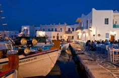 Naoussa, one of the most well known fish villages in Greece, located on the northern point of Paros island in the Cyclades complex of islands.