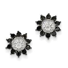 Sterling Silver Black Diamond Earring Jacket QE7880