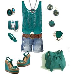 teal~I would not have so much real but add a little khaki into it:)