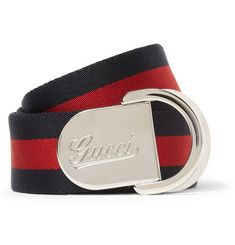 Gucci4cm Striped Canvas Belt