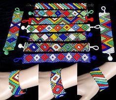 African Zulu jewellery beaded bracelet bangle ladies HAND MADE bright colours Wrap Bracelets, Colorful Bracelets, Bangles, Beaded Bracelets, Zulu Women, African Women, African Fashion, Textile Jewelry, Beaded Jewelry