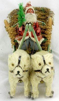 Antique German Santa on Sled with Polar Bears circa Fabulous Christmas… Antique Christmas Ornaments, Victorian Christmas, Christmas Items, Christmas Crafts, Christmas Decorations, German Christmas, Old Fashioned Christmas, Father Christmas, Merry Christmas