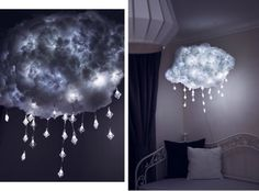 Cloud lamp, DIY cloud lamp, DIY cloud lamp, DIY lamp, Thundercloud … - Beautiful For Decoration Diy Cloud Light, Cloud Lights, Diy Cloud Lamp, Cloud Lampshade, Glow Cloud, Cool Diy, Deco Luminaire, Deco Design, Home And Deco