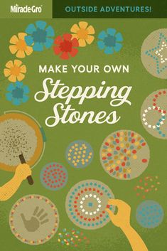 Part 6 of our Outside Adventures, step up your stepping-stone game with these ideas and additions. It's definitely messy but it's still easy to customize and create with only a few home ingredients. Garden Crafts, Garden Projects, Projects For Kids, Craft Projects, Craft Ideas, Crafts To Make, Fun Crafts, Crafts For Kids, Arts And Crafts
