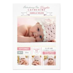 Precious Arrival Pink Photo Birth Announcement