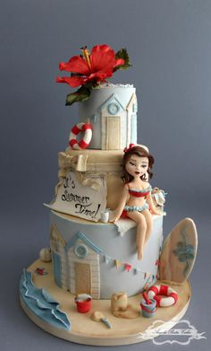 """cake for the """"Sweet Summer Collaboration"""", a fabulous international collaboration with more than 200 Cake Artists from around the world created and hosted by Isabel Tamargo from Tartas Imposibles. Here's the link to the official fb. Gorgeous Cakes, Pretty Cakes, Cute Cakes, Amazing Cakes, Fondant Cakes, Cupcake Cakes, Bolo Barbie, Beach Themed Cakes, Nautical Cake"""