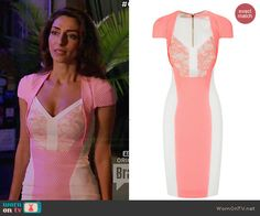 Delia's pink textured lace panel dress on Girlfriends Guide to Divorce.  Outfit Details: http://wornontv.net/45954/ #GG2D