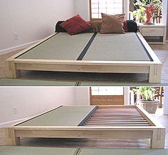 "Tatami Platform Bed Frame in Natural Finish - This Japanese style platform bed is constructed with interlocking frames that requires no brackets or screws for easy assembly. The Low platform bed frame is made of 100% solid hardwood(Parawood-environmentally friendly wood) in satin finish. Includes 18 pairs of wooden slats(2"" spacing) to support any standard size mattress."