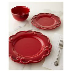 12-Piece Arabesque Dinnerware Service (250 AUD) ? liked on Polyvore featuring home  sc 1 st  Pinterest & Fifth 16pc Dinnerware Set Christmas Toile White/Red ($110) ? liked ...