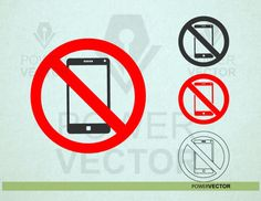No Cell Phone Sign, Stock Illustrations, Phone Icon, Letter Size Paper, Coreldraw, Wall Stickers, Cricut, Clip Art, Silhouette
