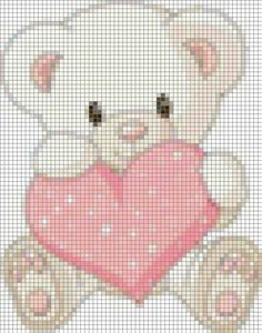 Urso Cross Stitch Fabric, Cross Stitch Heart, Cross Stitch Animals, Cross Stitching, Cross Stitch Embroidery, Cross Stitch Patterns Free Easy, Counted Cross Stitch Patterns, Cross Stitch Designs, Pixel Crochet