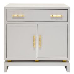 Storage Furniture - Worlds Away Marcus Grey Cabinet I Zinc Door - gray cabinet with gold leaf hardware, gray cabinet with bamboo gold hardwa...