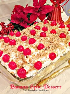Banana Split Dessert | Can't Stay Out of the Kitchen | this luscious #dessert has a graham cracker crust, a #cheesecake layer, then it's layered with #bananas, #pineapple and topped with whipped topping, #maraschinocherries and #walnuts. Spectacular #holiday dessert.