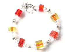 Summer Fire Orange Red Yellow Furnace Cane by SillygirlblueJewelry