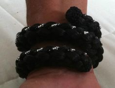 Black Horse Hair Wrap Bracelet with White and Silver Beads  $29.99