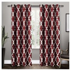 "Ironwork Sateen Woven Room Darkening Window Curtain Panel Pair Burgundy (Red) (52""x108"") - Exclusive Home"