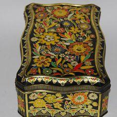 Vintage tin box, colorful floral jewelry box, cookie tin, black raised vibrant floral design, trinket box, cookie tin, jewelry box