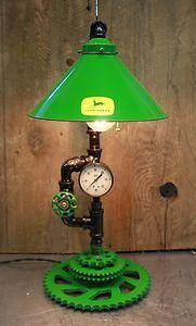 John Deere Steampunk Style Lamp Light with Gears Pulley |  Industrial Project Ideas Decor Project Ideas www.MaritmeVintage.com     #Industrial #Lighting #Light #Decore #Project
