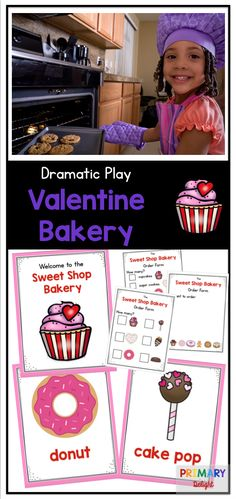 Valentine theme for Dramatic Play - make a bakery with sweet treats - perfect for preschool or kindergarten!