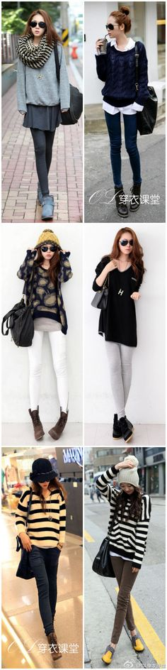 Asian style outfits that should also work great for school! The skinny legs though.